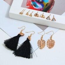 Bohopan 6PCS/Set New Arrival Bohemia Earrings Set Fashion Triangle Stud For Women Classic Tassel Ear Jewelry Trend 2019
