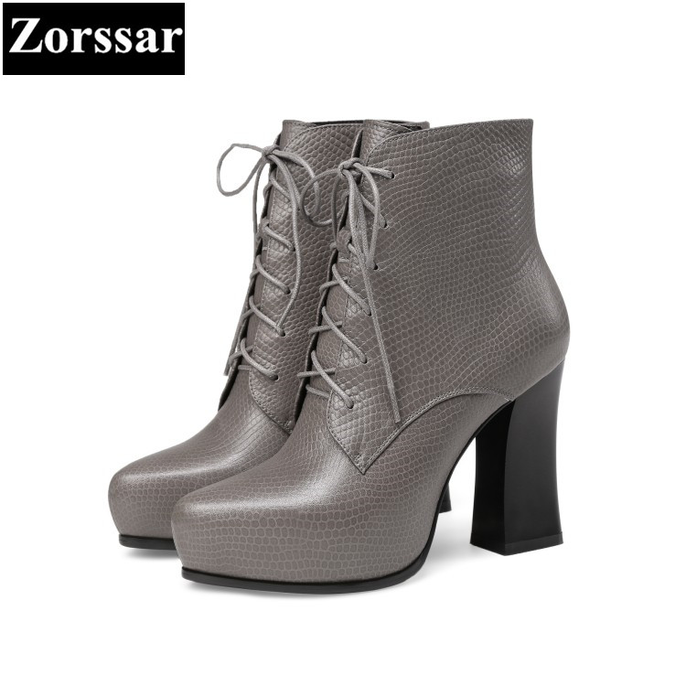 {Zorssar} 2018 NEW Large size Women Boots lace up platform High heels ankle Motorcycle boots Autumn winter womens shoes new spring autumn women boots black high heels thick heel boots lace up platform ankle boots large size 34 43