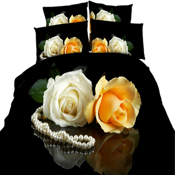 yeeKin 3D HD Printed Flower Bedding Yellow/White Roses Pearl Necklace 3/4 Pieces Cotton 3D Bedding Sets Floral Duvet Cover Set