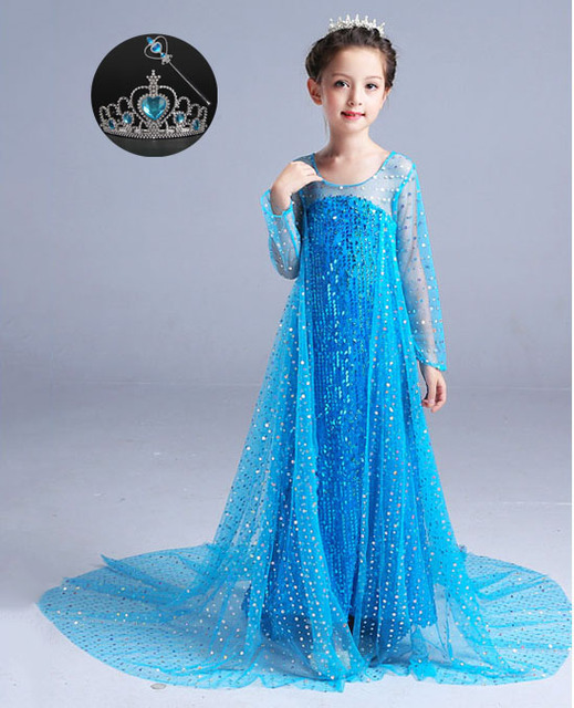 fashion childrens princess birthday party ball gown elsa cape dress halloween costumes for girls princess