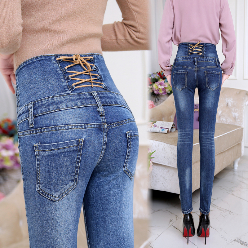 New 2017 Fashion High Waist Women Jeans Stretch Skinny Jeans Female Slim Pencil Pants Blue Denim Ladies Pants Y228