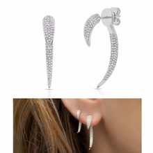 2018 new arrived hip hop fashion women earring jewelry micro pave cz bar spike double sidded earrings(China)