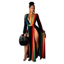 Женское Модное Длинное Платье-макси в стиле бохо летнее пляжное платье в полоску для девочек повседневное разноцветное винтажное платье радужной расцветки Vestido