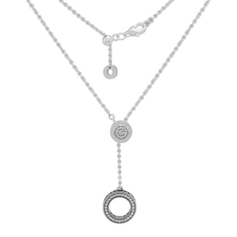 PANDULASO 100% 925 collier pendentif rond en argent Sterling avec pierre CZ 70cm Long collier chaîne bijoux de luxe pour les femmes