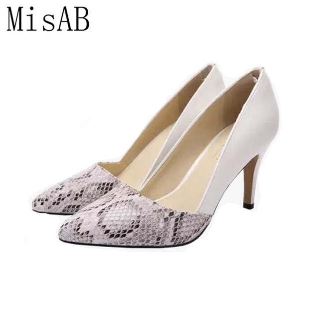 2016 NEW women pumps 6cm and 8cm snake grain elegance women shoes ...