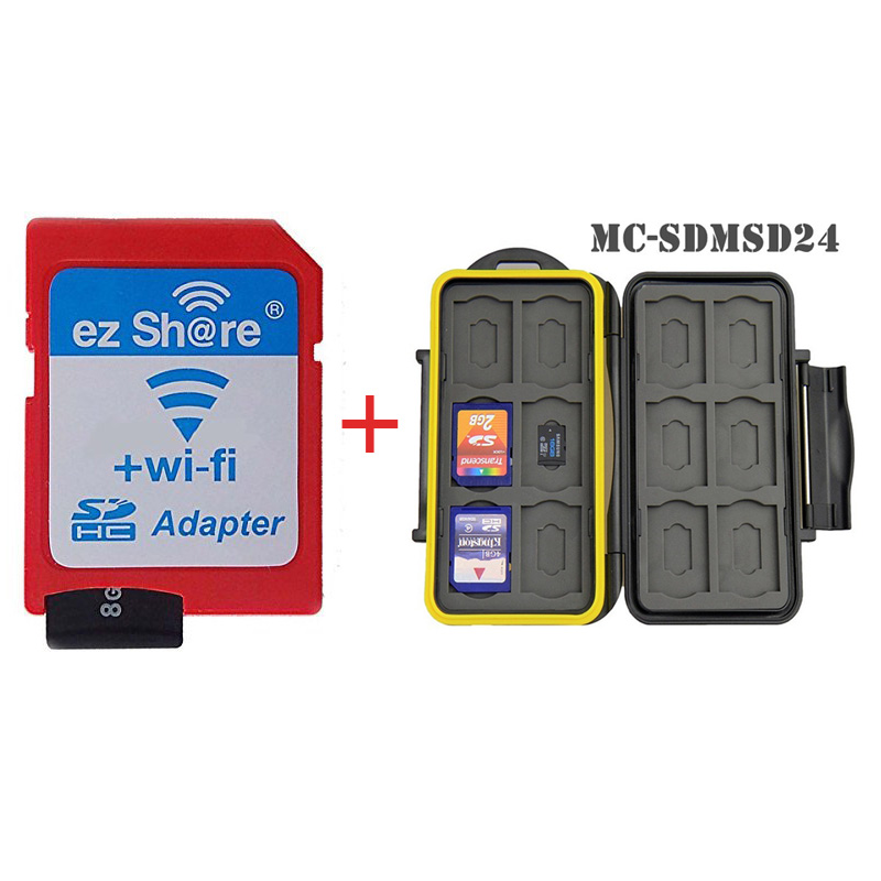 The Combination of Ez Share Wifi Sd Memory Card Adapter&Micro Sd Card  Plus a JJC MC-SDMSD24 Card Case uwinka mc u6c multi in 1 water resistance shockproof memory card storage box red