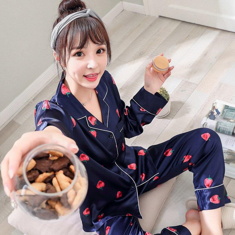 Autumn New Sleepwear Strawberry Print Silk Top + Long Pants 2 Piece   Sets   Women   Pajamas     Set   Fashion Comfortable Soft pijama mujer
