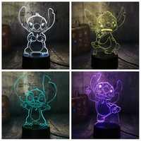 NEUE 4 Design Nette Stich Alien Hund Cartoon 3D LED Nachtlicht 7 Farbe Baby Schlaf Schreibtisch Lampe Wohnkultur urlaub Kind Weihnachten Geschenk