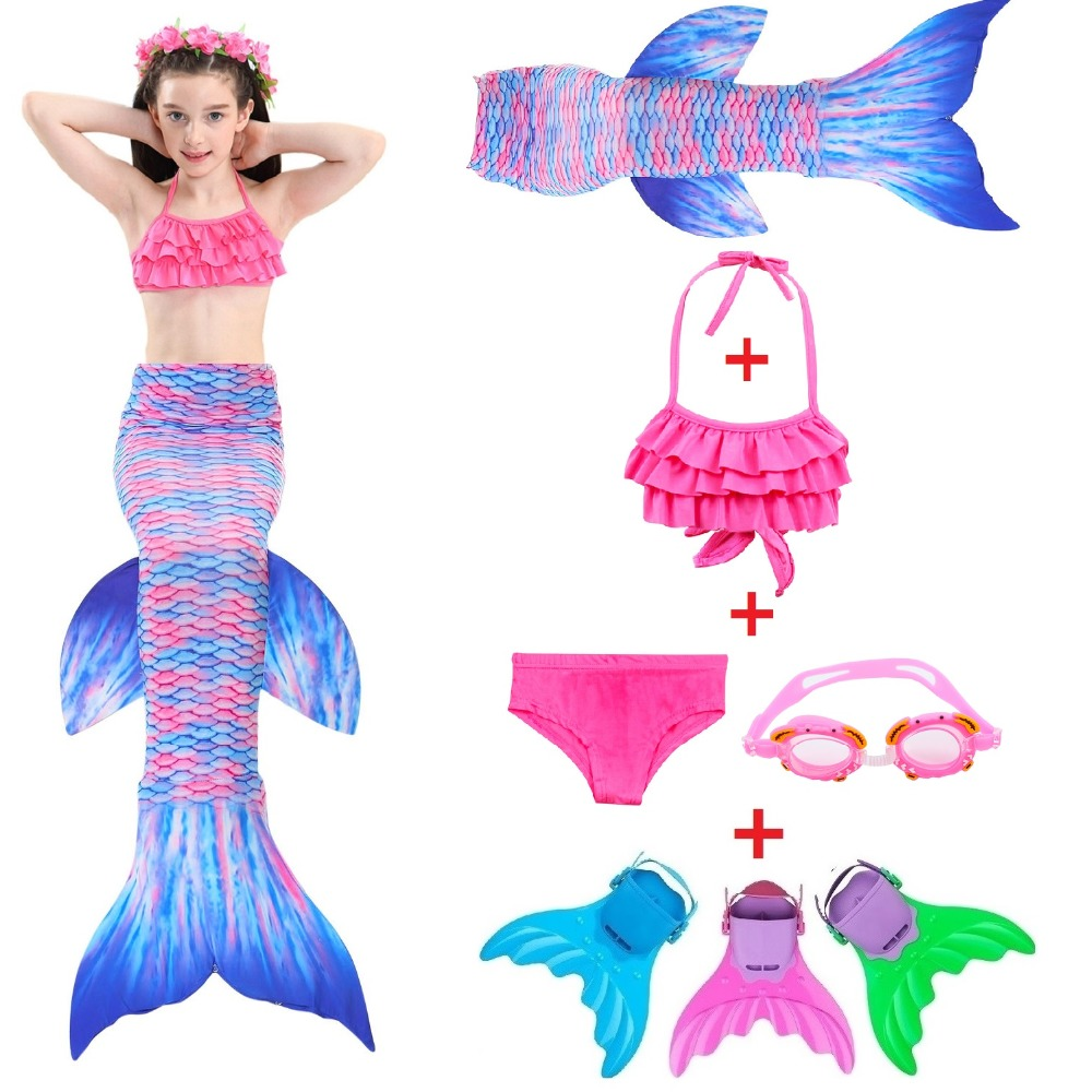 2018 New Kids Children Mermaid Tails for Swimming Mermaid tail with Monofin Girl Costumes Swimmable Swimsuit with Bikini Flipper