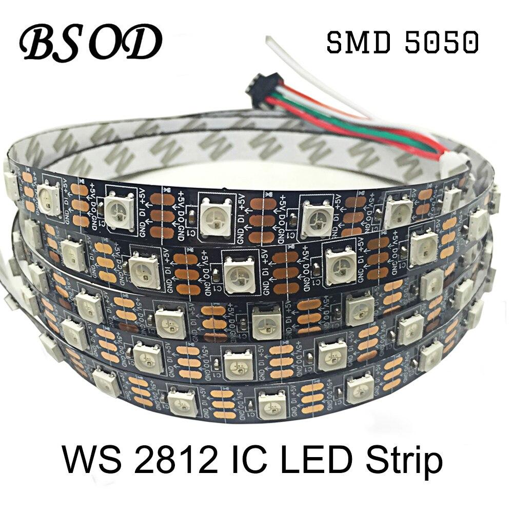 BSOD DC5V WS2812 LED Bande 60 leds/m IC WS2812 Noir PCB NON Étanche IP20 Coloré LED Éclairage SMD5050 Bande À Puce Flexible