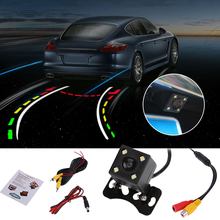 universal 12V 140 Degree Car Reversing Trajectory Dynamic Tracks Rear View Vehicle Camera Night Vision With Scale Meter