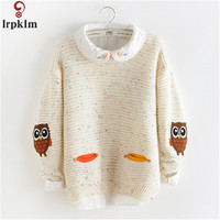 New Youth Women's Sweater Spring 2017 Autumn Winter Fashion Elegant Owl Embroidery Girl's Knitted Pullover Tops Female LZ230