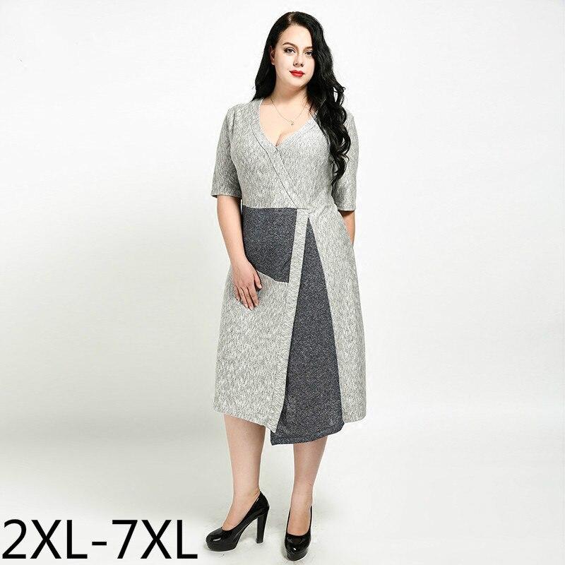 Plus la Taille Longue Robe D'été Femmes Robes 2xl-6xl Occasionnels À Manches Courtes V Cou Patchwork Robes Irrégulière Ourlet 3xl 4xl 5xl 2018 N