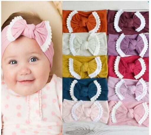 30pc lot New Solid Nylon Headband Bow Headbands For cute Kids Girls Hair Girls Pom Pom