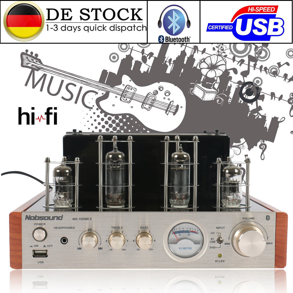 Nobsound MS-10D MKII Bluetooth Valve Tube Amplifier USB Audio HiFi Tube Headphone Amp Hybrid Integrated Power Amp 50W music hall bluetooth 4 0 valve vacuum tube amplifier stereo power integrated audio hifi amp support usb