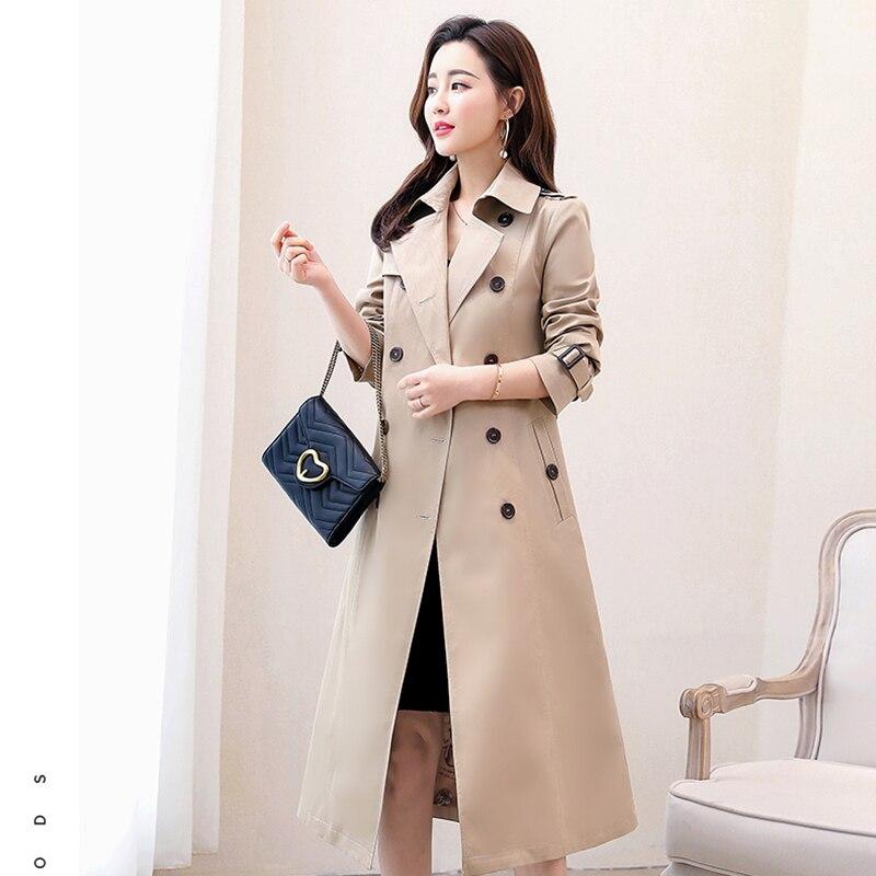 Spring Women Coat 2019 New Female Medium Long Fashion Windbreaker Coat Large Size Loose Pockets   Trench   Coat Elegant Slim OK907