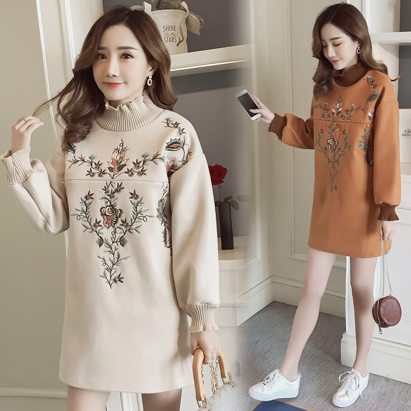 Long Sleeve Pregnancy Maternity Embroidery Dresses Thick Nursing Clothing With Velvet Breastfeeding Dresses for Pregnant Women hot sale floral printing long sleeved nursing top shirt breastfeeding tops clothing nursing clothing feeding clothing breast fee