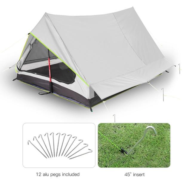 Lixada tienda de campaña ultraligera para 2 personas refugio de malla de doble puerta, perfecto para acampar, mochilero y a través de tiendas de campaña para acampar al aire libre