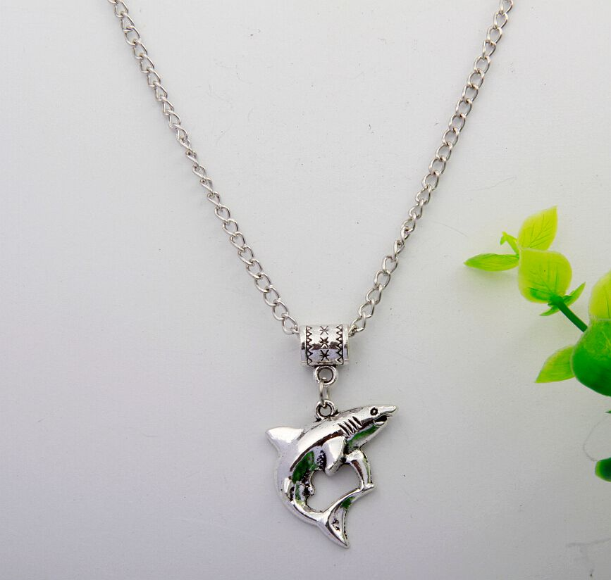 Hot Ancient Silver Shark Pendant Necklace Bff Charms Gift Fashion Vintage Jewelry Alloy Charm 10Pcs lot Accessories DIY H080 in Pendant Necklaces from Jewelry Accessories