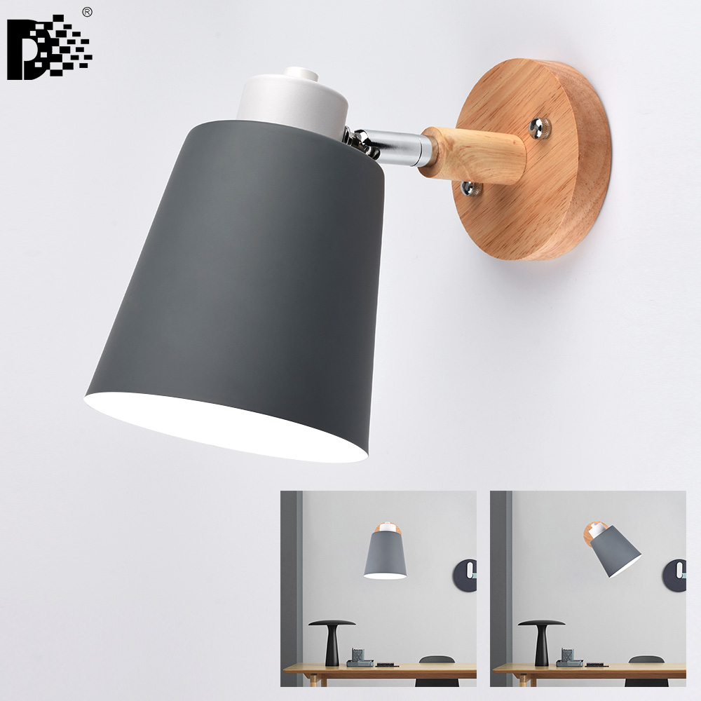 AC110-240V <font><b>Spot</b></font> living room <font><b>wall</b></font> lamp hotel aisle corridor bedroom bed modern aluminum alloy+Wood <font><b>led</b></font> lamp fixture image