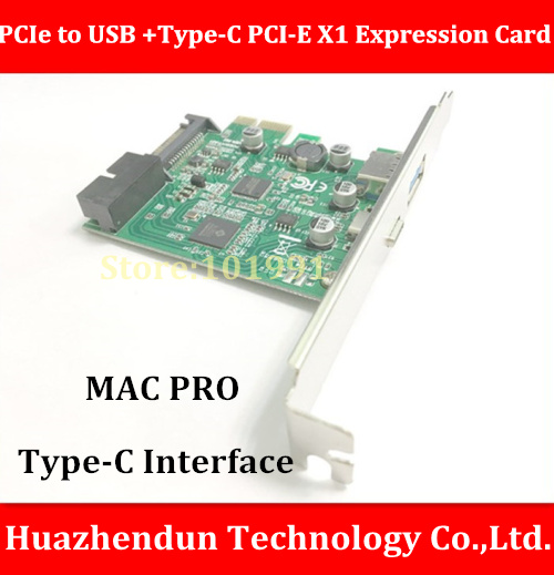New Arrivals  PCIe X1 USB3.0 to USB +Type-C PCI-E X1 Expression Card For Mac Pro 4.1-5.1 OSX 10.9 or later кабель питания 20 shippment mac pro g5 mac 6pin 2 pci e 6pin 4500 gtx285 hd4870 hd5770 gtx285