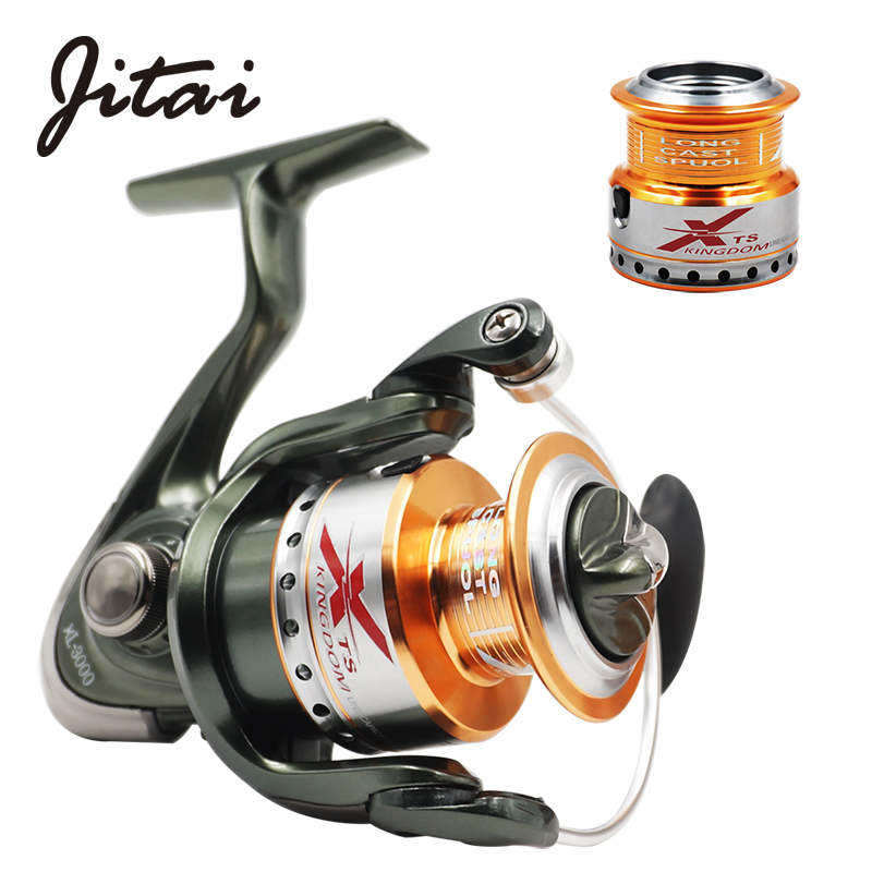 JITAI Spinning Reel with Free Spare Metal Spool Smooth 5.2:1 Gear Ratio 9+1BB Left right Hand Fishing Reel 10BB Fishing Coils coonor j12 9 1bb metal spool fishing reel 5 1 1 gear ratio spinning reel full metal spool with double t shape handles