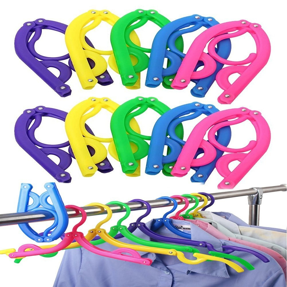 10PCS Portable Folding Clothes Hangers Clothes Drying Rack for Travel multifunctional HOOK