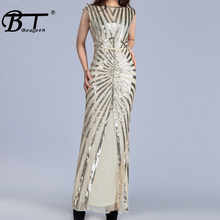 Beateen 2019 New Arrivals Sexy Vestidos Slash Neck Sleeveless Backless Sequined Bodycon Gown Women Party Hollow Out Maxi Dress(China)