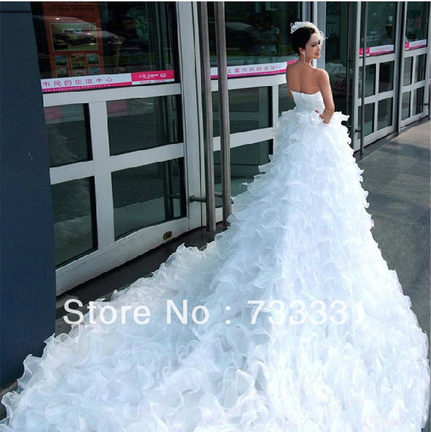 European Royal Design Beaded Ruffle Strapless Organza Cathedral ...