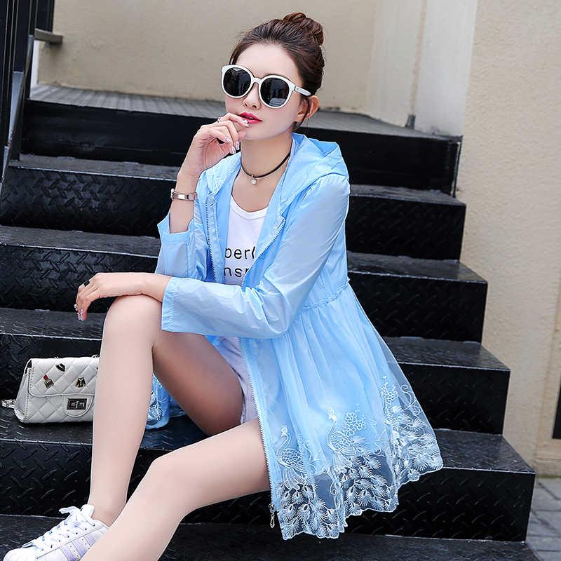 여름 숙녀 패션 태양 보호 의류 레이스 밑단 셔츠 중간 긴 자외선 자수 카디건 목도리 울트라 얇은 탑스 방지