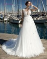 Loverxu Novo Design Elegante Tulle Tribunal Train A Linha de Vestido de Noiva 2017 Apliques Delicados Pérolas da Luva do Tampão vestido de Noiva Venda Quente