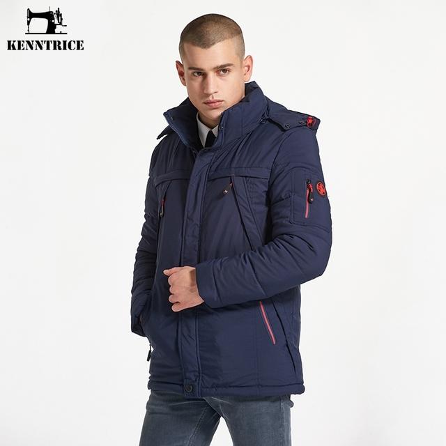 KENNTRICE European Size 3XL Thicken Winter Men's Jacket Polyester Men Coat Snow Wear Hooded Jacket Male Winter Coats