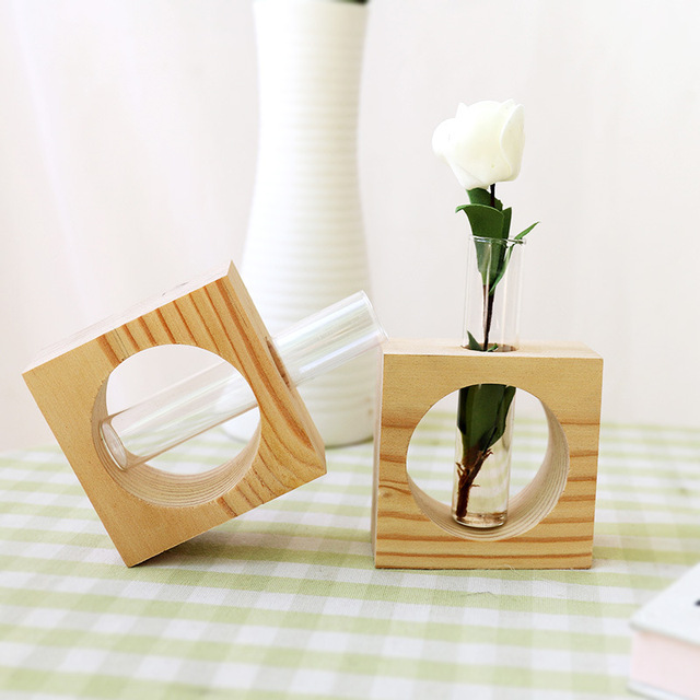 Modern Style Wood and Glass Flower Vase