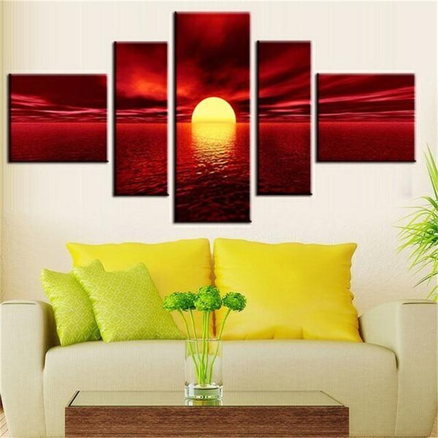 Art Modern Giclee Canvas Prints Sea Beach Artwork Red Sun Photo ...