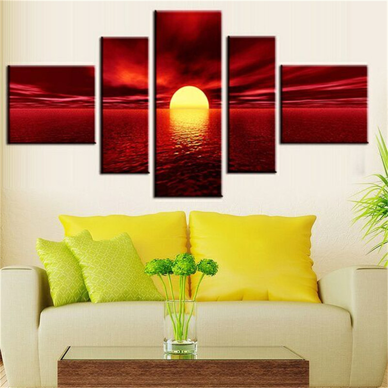 Art Modern Giclee Canvas Prints Sea Beach Artwork Red Sun Photo Wall For Living Room Home Decoration
