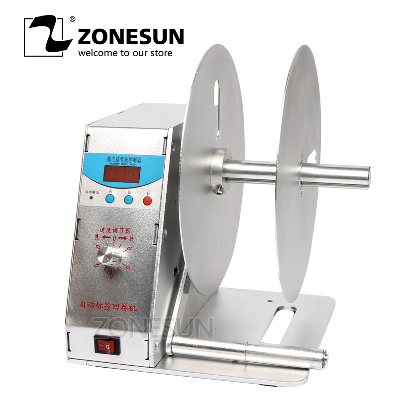 ZONESUN Digital Automatic Label Rewinder Tags Rewinding Machine Speed Adjustable 220V or 110V