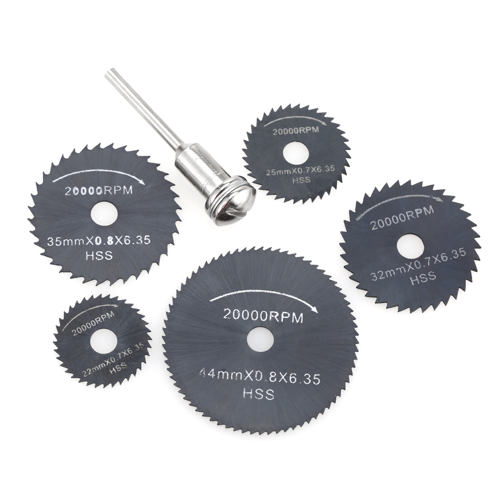 6pcs HSS Circular Saw Blades Rotary Cutting Tools Set multi tool for Power Tool Wood Cutting Discs dremel Drill Mandrel Cutoff new 50mm concrete cement wall hole saw set with drill bit 200mm rod wrench for power tool