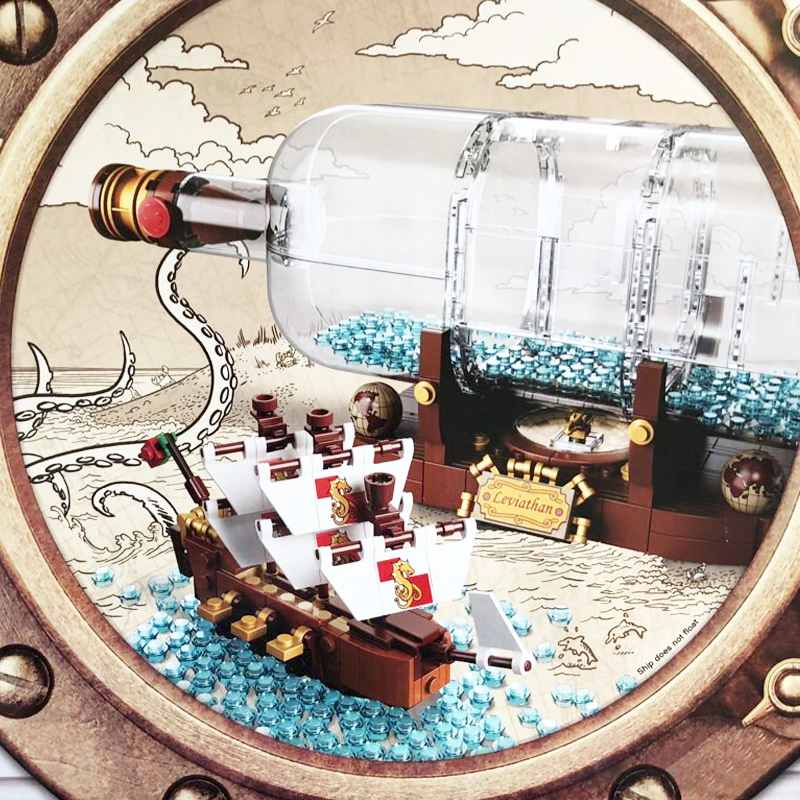 Pirates of the Caribbean 16051 Creative Series The Ship in the Bottle Building Blocks Kit Brick Toys Compatible with Legos 21313