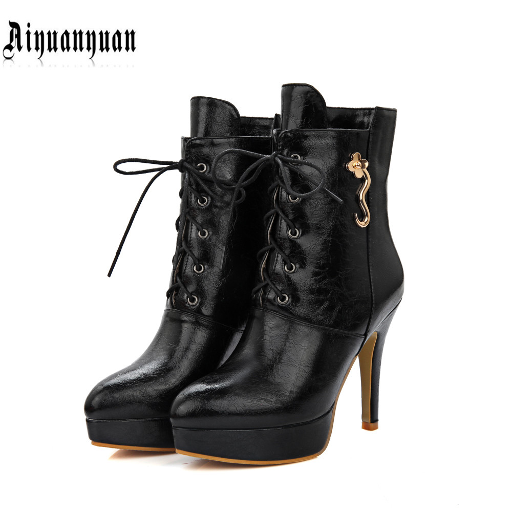ФОТО 2017 Big European size to 39 40 41 42 43 44 45 46 thin high heel women PU ankle boots elegant style most countries FREE SHIPPING