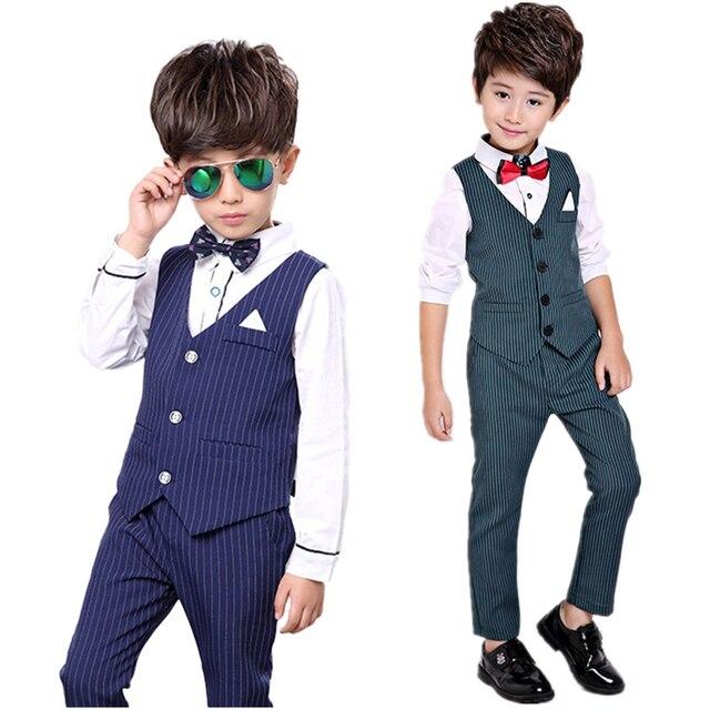 Crianças define para Meninos Smoking Formal Ternos de Vestido crianças Capina Conjuntos Calças Colete 2 pcs Trajes Crianças Meninos Presente de Aniversário conjunto terno