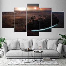 5 Panels Millenium Falcon Star Wars Canvas Painting Home Decoration Vintage Wall Art Picture for Living Room Framed Artwork(China)