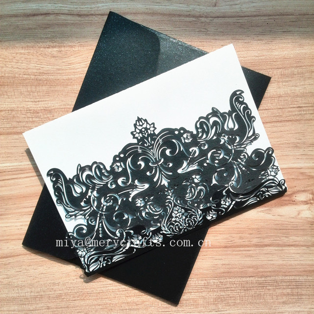 Horizontal White Black Laser Cut Indian Wedding Invitations Christmas Event Party Supplies