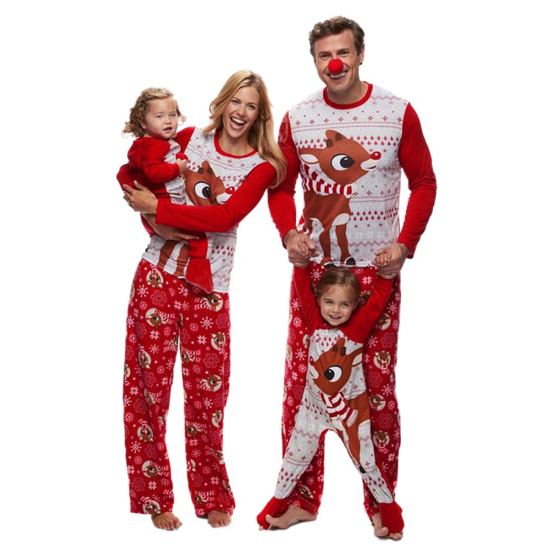 High Quality Family Matching Christmas Cartoon Top+Pant Sets New 2018 Father Mother