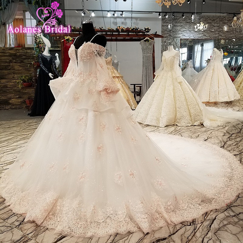 Aolanes 2018 Ivory Champagne Appliques Tulle V-neck Long Sleeves Wedding Dresses Royal Train  Lace Up Ball Gown Wedding Dresses