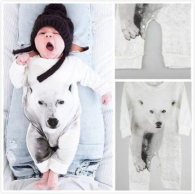 Perakende 2016 Erkek Bebek 3D Dijital Baskı Polar Bear Romper güzel çocuk tulum Sevimli Bebek Için bays kızlar Kabanlar Giyim