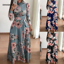 Danjeaner New Style Women Long Sleeve Flower Printed Long Dress Spring Turtleneck Plus Size Maxi Dress with Sashes Elegant