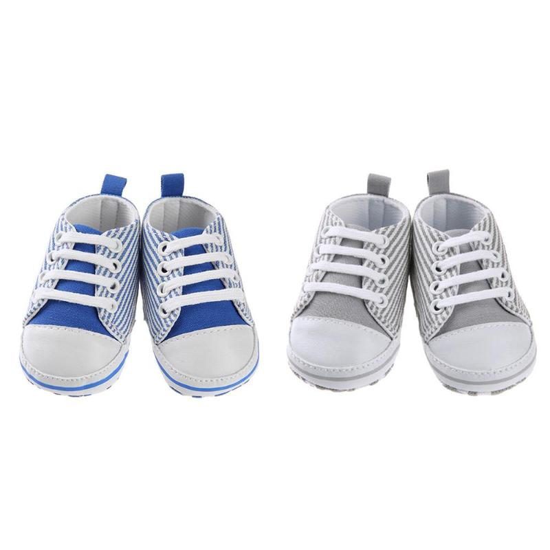Summer Newborn Boys Girls Shoes Canvas Anti-Slip Silicone Sneakers Soft Stripe Sports Baby Shoes Grey Blue Routine First Walker