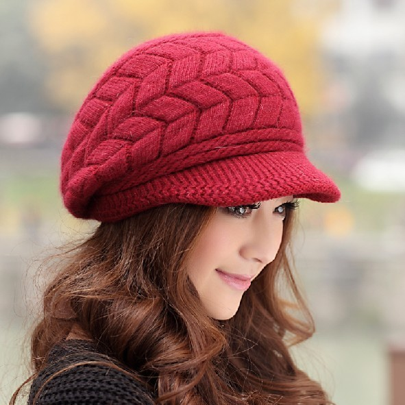Women's spring hat female knitted hat rabbit fur knitted hat autumn and winter women's warm hat