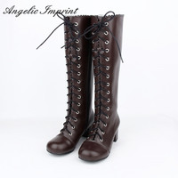 Japanese Style Lolita Cosplay Knee High Boots Vintage Brown Lace Up Square Heel Princess Girl Martin