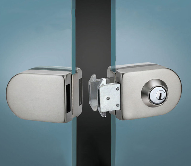 Sliding Central Glass Door Lock 304 Stainless Steel No Need To Open Holes